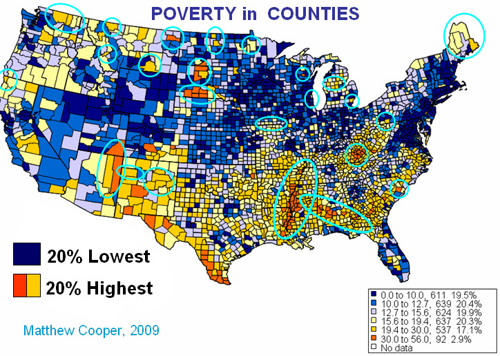 County Health And Poverty Buz Cooper MD - Map of poor healthcare in the us